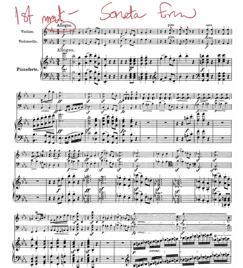 a look at the first movement allegro moderato and the second movement andante With the poignant second movement andante cantabile the quartet begins moderato e semplice, the first theme is dominated by its syncopated striking rhythm at a moderate tempo, applying a touch of restraint to its related word(s), eg allegro moderato.